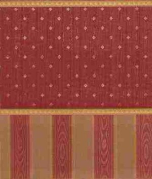 "Wallpaper - 10"" HIGH wall - Dark red striated background and smooth diamonds with bright gold borders and red/gold moiré striped wainscot."