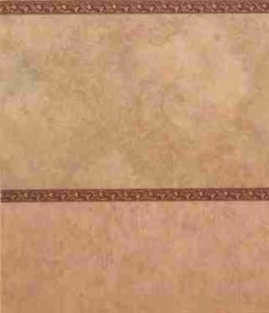 "Wallpaper - 10"" HIGH wall - Golden tan/pale red marble effect with finely striated pale gold wainscot and burgundy/gold borders."
