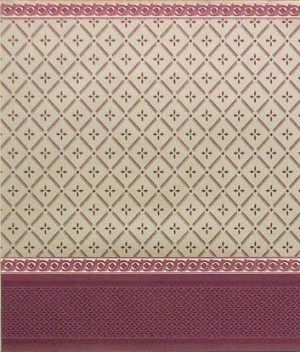 "Wallpaper - 10"" HIGH wall - Burgundy diamond pattern on pale gold background with burgundy pale gold borders and burgundy wainscot."