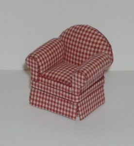 24th scale red check armchair