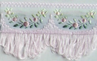 Jacquard ribbon with scalloped fringe - pale pink/pale pink