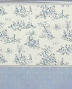 Light blue toile pattern on white background - light blue wainscot with striated background and smooth diamond pattern - blue-white borders