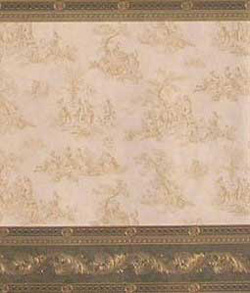 "Wallpaper - 10"" HIGH wall - Beige toile with a hint of green on off-white background with dark olive/bright gold elaborately detailed borders and wainscot."