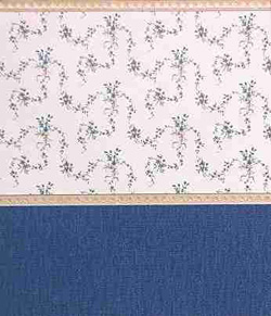 "Wallpaper - 10"" HIGH wall - Blue/burgundy/green/grey fine floral on pure white background with pale gold borders and navy blue textured wainscot."