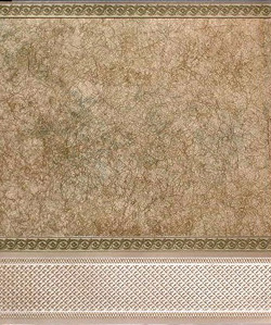 "Wallpaper - 10"" HIGH wall - Olive green/gold crackle marble with olive green/gold borders and wainscot."