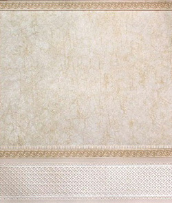 "Wallpaper - 10"" HIGH wall - Pearly white/pale gold crackle marble with pale pearly cream borders and wainscot."