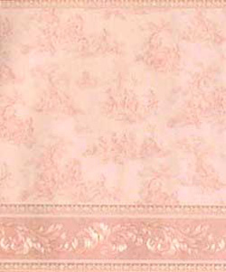 "Wallpaper - 10"" HIGH wall - Pale pink toile on white background with pale beige/pearly white borders and pink and pearly white carved leaf design wainscot."