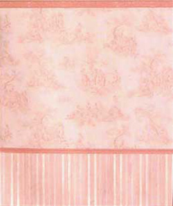 "Wallpaper - 10"" HIGH wall - Pale pink toile on white background with pink borders and multi-tone pink striped wainscot."