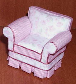 24th scale shabby chic pink armchair