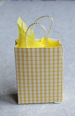 Miniature gift bag with yellow check design