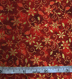 100% cotton red poinsettia pattern fabric