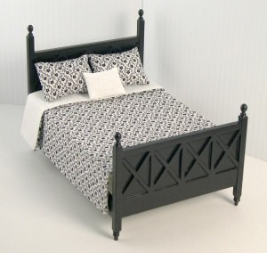 Ashley ebony bed (with bedding)