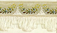 Jacquard ribbon with scalloped fringe - ivory/blue