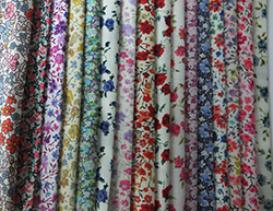 16 cotton 5-inch patchwork squares in Liberty floral prints