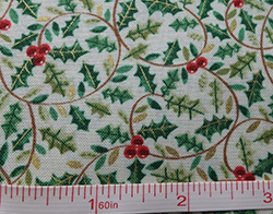 100% cotton holly pattern fabric