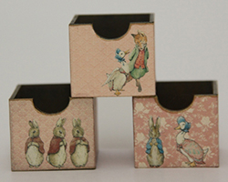 Set of three Beatrix Potter crates - pink (kit)
