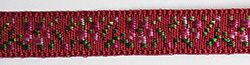 Dark red floral jacquard ribbon with pink flowers
