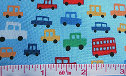 Cotton fabric with car design