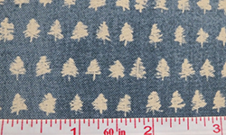 Blue cotton fabric with cream trees