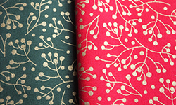 Christmas gold berry cotton fabric - two pieces