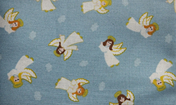 Christmas cotton, angels on blue background