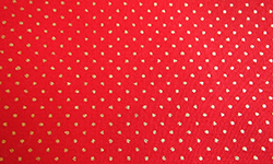 Christmas fabric, tiny gold spot pattern on red background, 100% cotton.