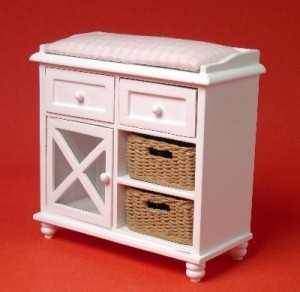 Ashley white changing table - pink cushion